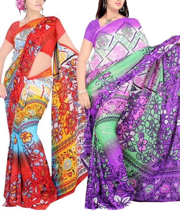 Priyanka's Vibrant Georgette Saree Combo of 2
