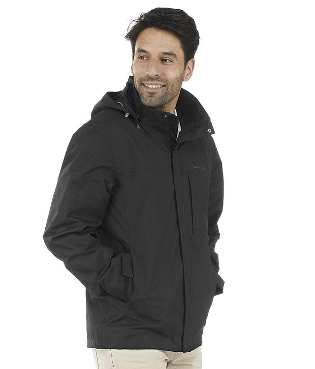 Quechua Arpenaz 300 Black Hiking Rainwear Jacket 8171812