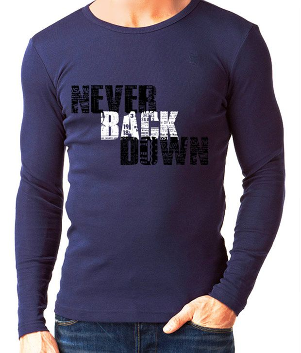 Rigo Blue Never Back Down Full Sleeves T-Shirt