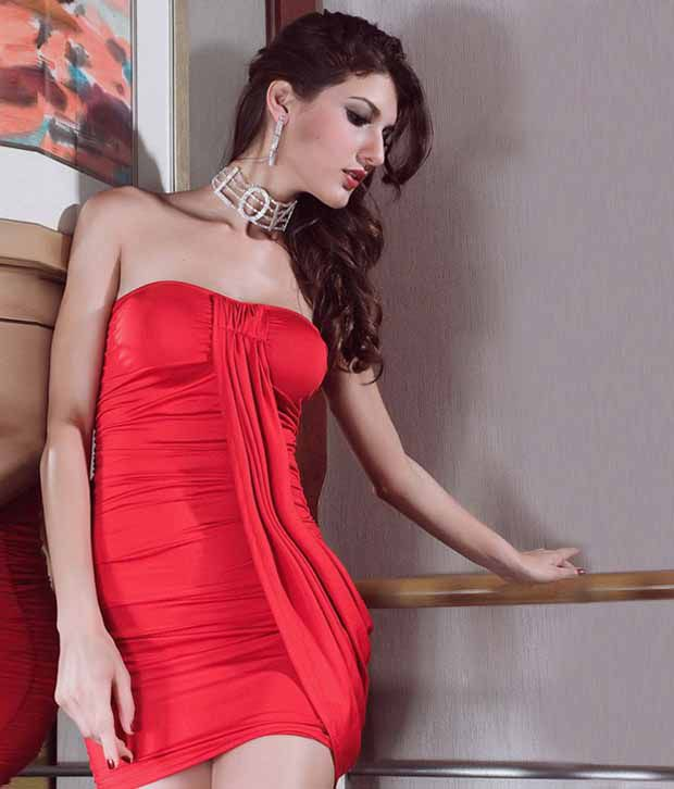 b3bb39fc90 Buy Nitein Sexy Red Off Shoulder Short Dress Online at Best Prices ...