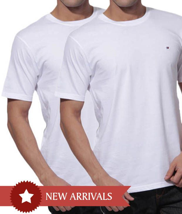 d38809caa Tommy Hilfiger White Round Neck T-Shirt Pack of 2 - Buy Tommy Hilfiger  White Round Neck T-Shirt Pack of 2 Online at Low Price - Snapdeal.com
