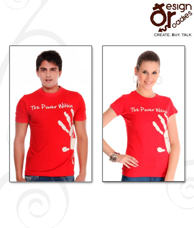 Design Roadies The Power Within Red T-Shirt Pack of 2