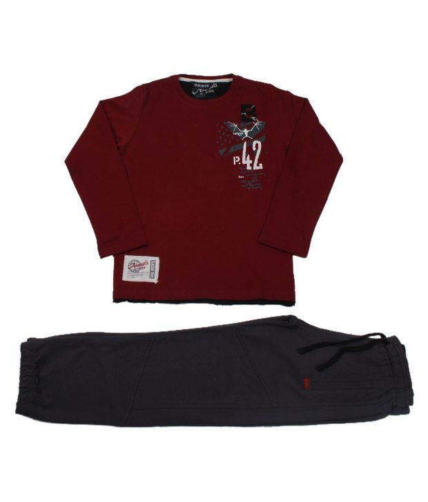 Unikid Maroon-Grey T-Shirt & Track Pant For Kids