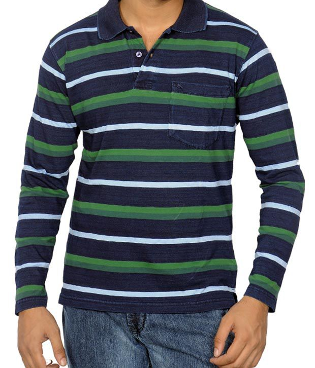 Monte Carlo Navy Blue & Green Stripes T-Shirt