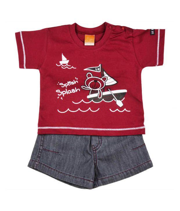 Little Kangaroos Wine T-Shirt & Grey Shorts For Kids