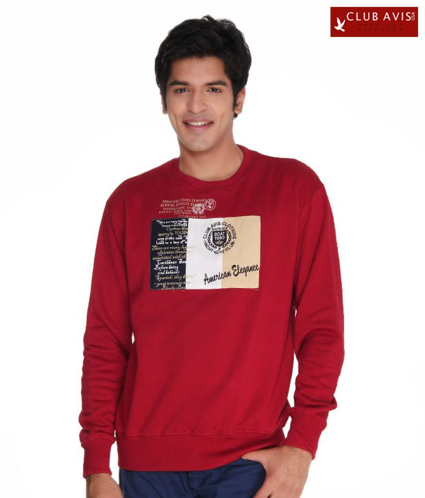 Club Avis USA Classy Red Men Sweatshirt