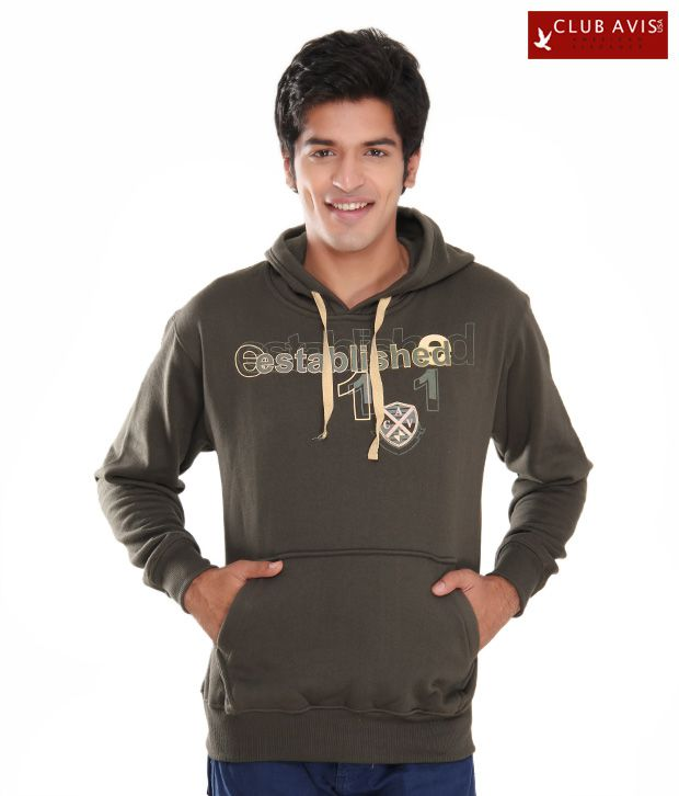 Club Avis USA Dark Olive Green Men Hooded Sweatshirt