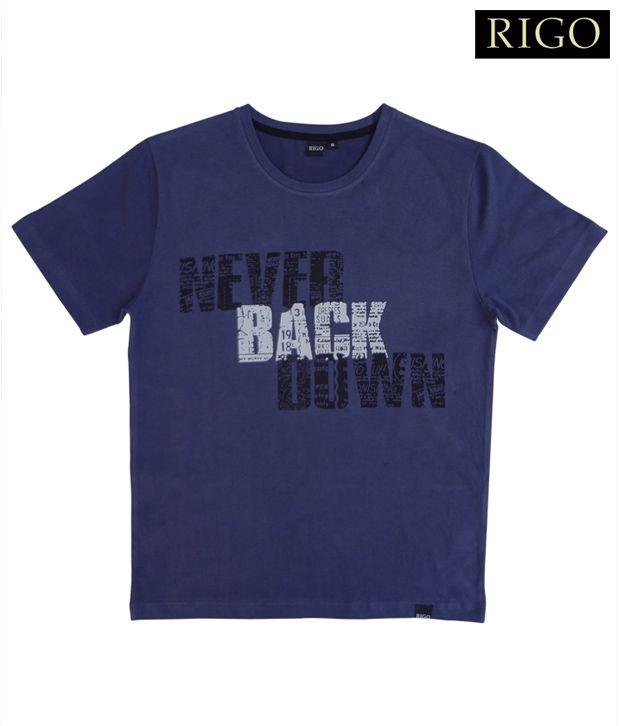 Rigo Navy Blue Never Back Down T-Shirt