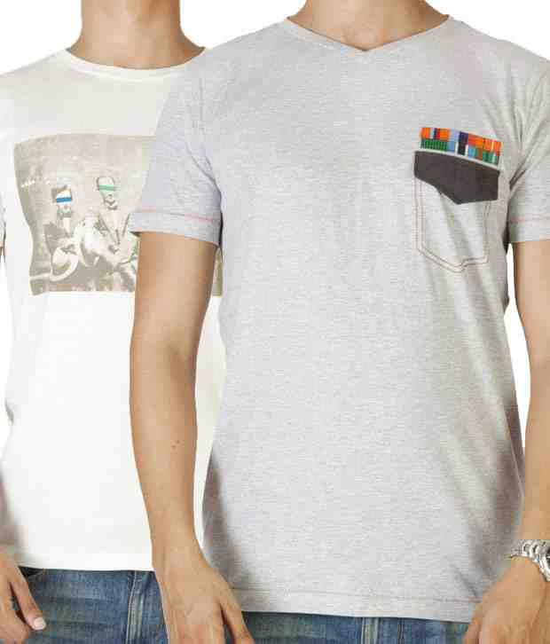 Dirty Laundry Grey & Off-White Pack of 2 T-Shirts