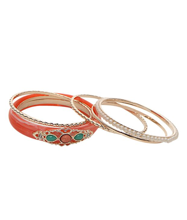 Youshine Trendy Golden & Peach Bangle Set