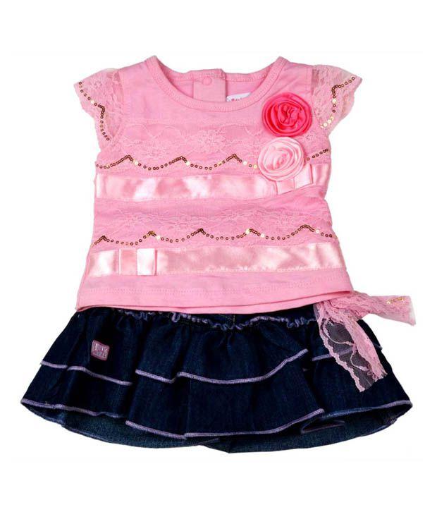 Little Kangaroos Pretty Pink Top & Blue Skirt