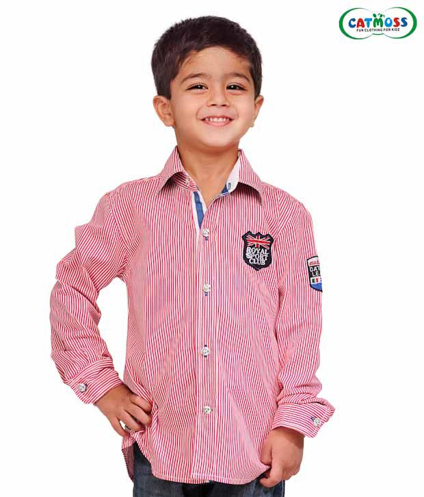 Catmoss Pink & White Striped Shirt For Kids