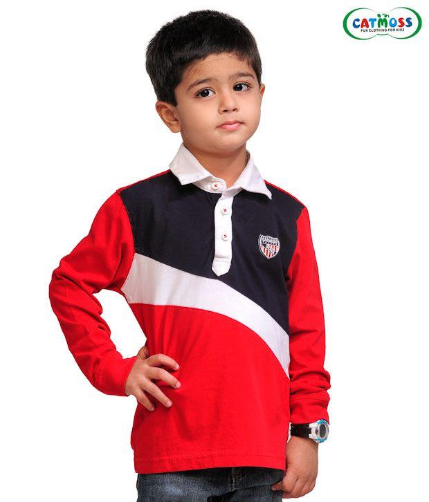 Catmoss Vibrant Red & Dark Navy T-Shirt For Kids