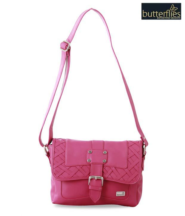 Butterflies Pretty Pink Criss-Cross Handbag