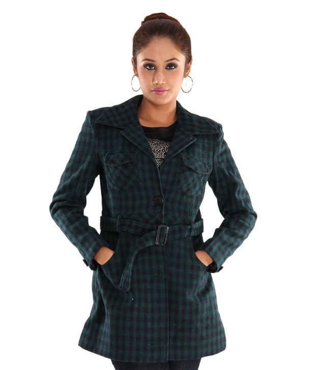 Hues Green Tweed Checkered Overcoat