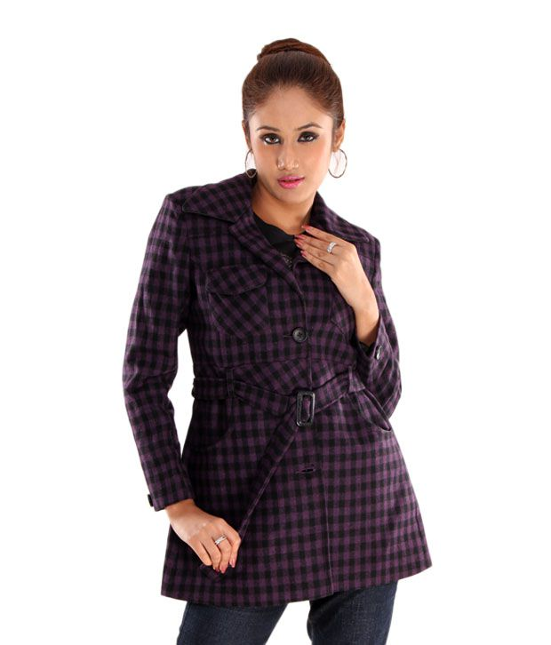 Hues Purple Tweed Checkered Overcoat