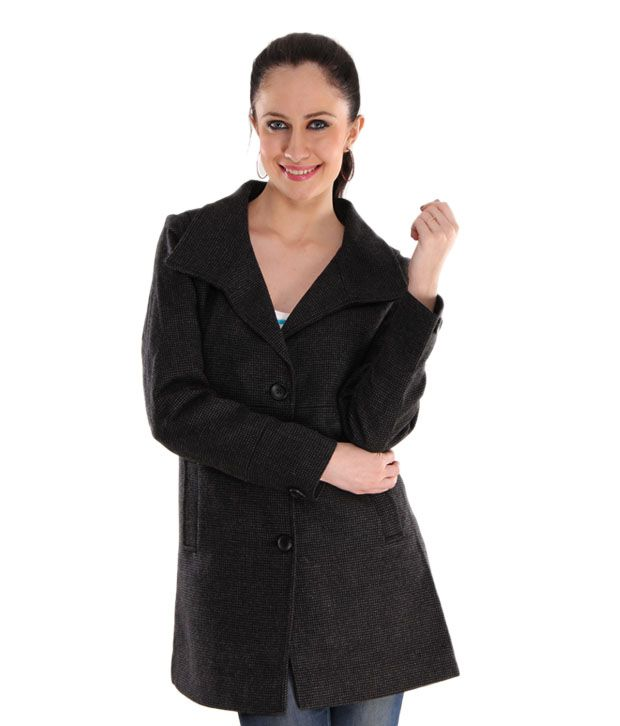 Hues Exquisite Black Tweed Overcoat