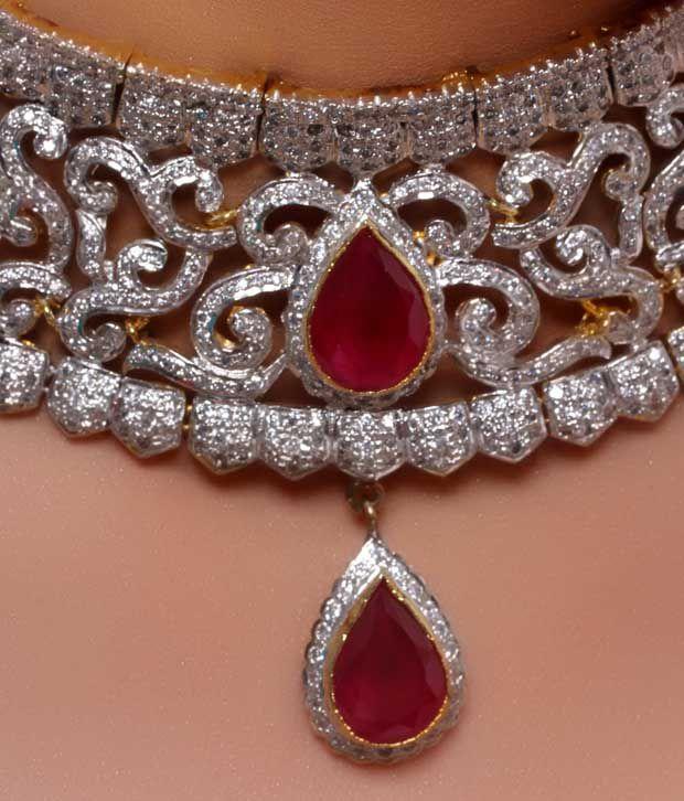 09b9c500a6b30 Karishma Sparkling American Diamond Bridal Set