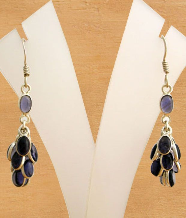 Designer Silver Iolite Adorned Sterling Silver Earrings