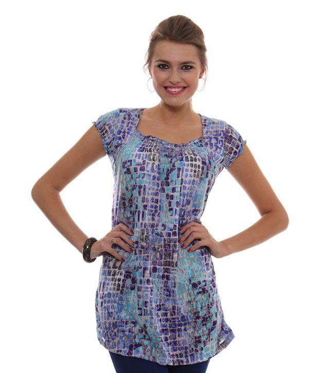 Sepia Blue Poly Cotton Tunics