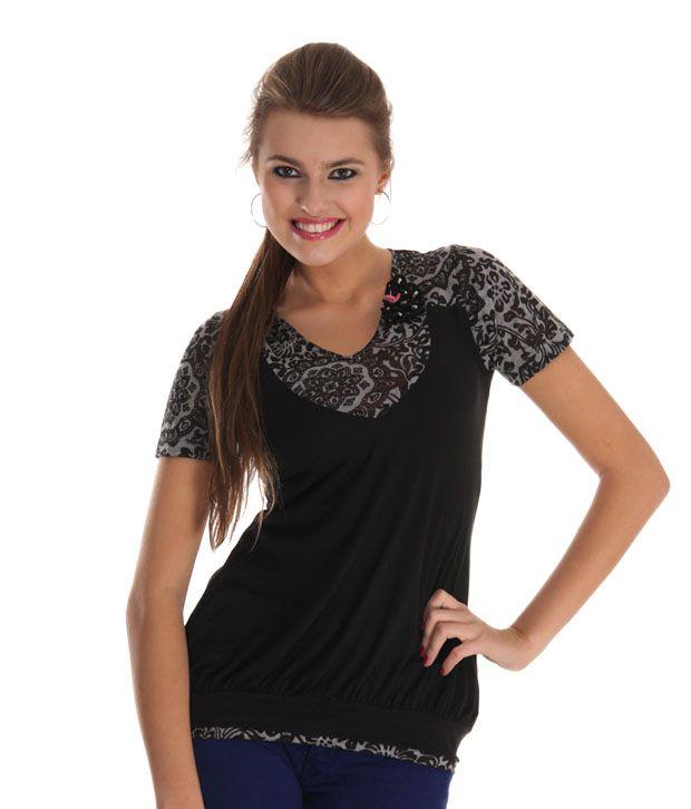 Sepia Black Poly Cotton Tops