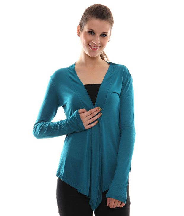 Sepia Turquoise Blue Shrug Top