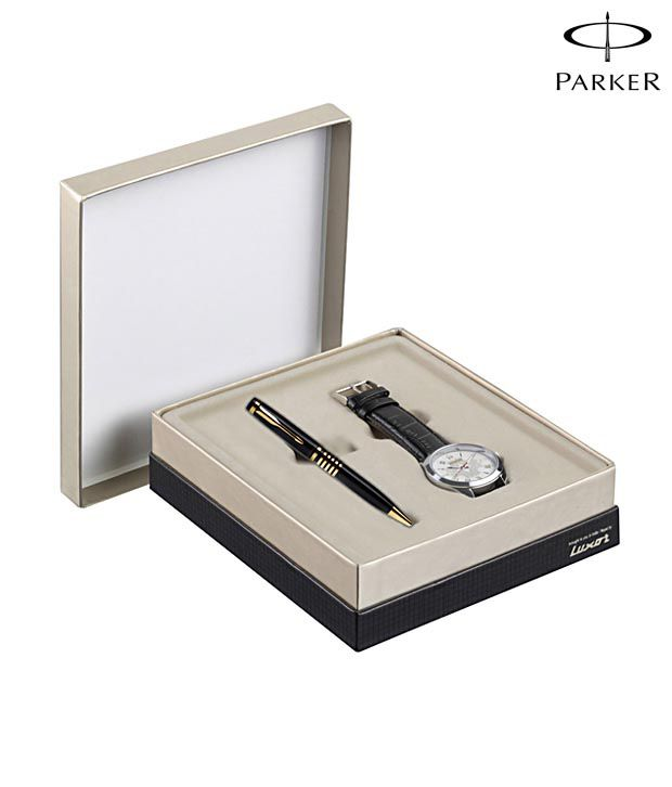 Parker Ellipse Black GT Ball Pen + Round Dial Watch Free