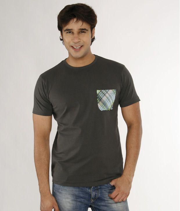 A for F Grey Cotton Lycra T-Shirt