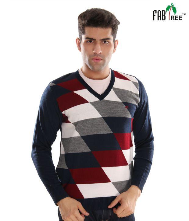 Fabtree Smart Navy Blue & White Checkered Sweater