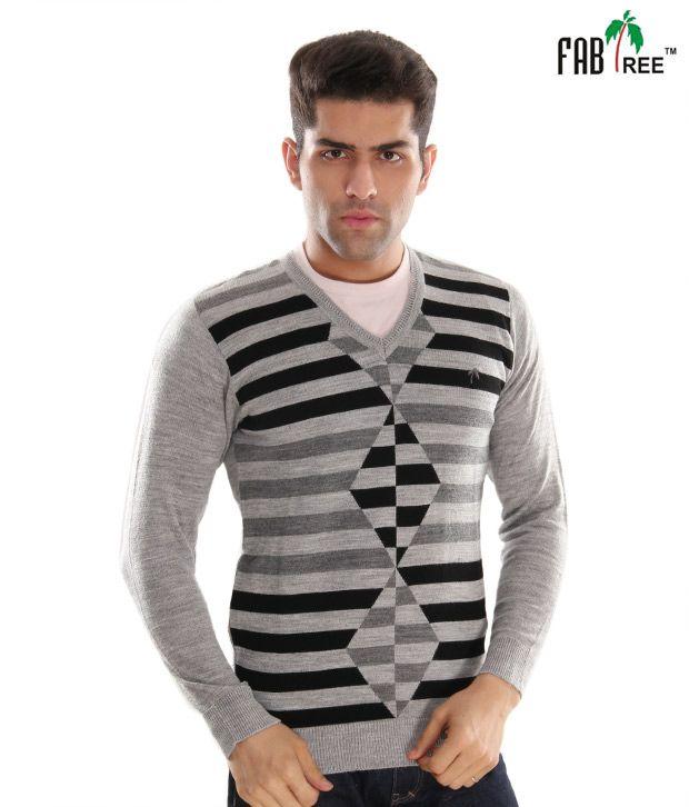 Fabtree Grey & Black Designer Striped Sweater