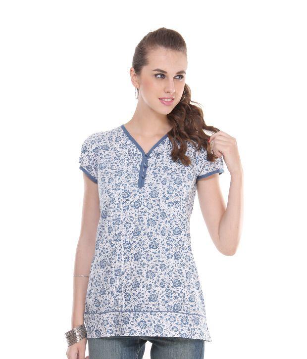 Style Quotient Blue Poly Cotton Tops