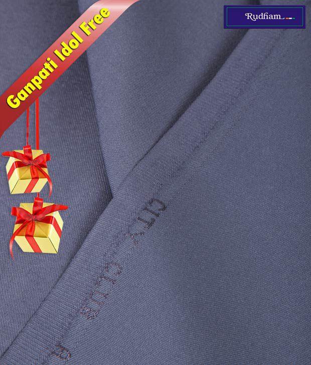 Rudham Blue Suit Length With Ganpati Idol Free