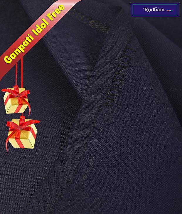 Rudham Navy Blue  Suit Length With Ganpati Idol Free