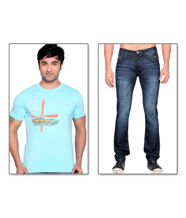 Locomotive Blue Jeans & Sky Blue T Shirt Pack