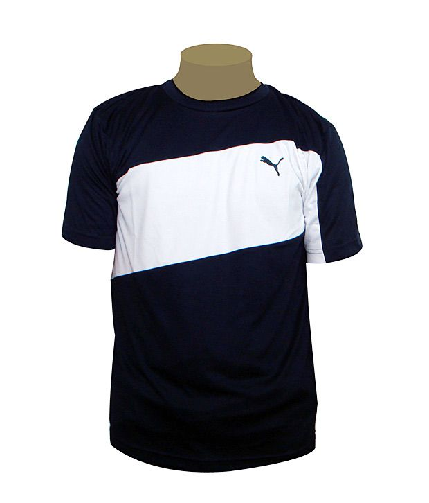 Puma White-Black Round Neck T Shirt