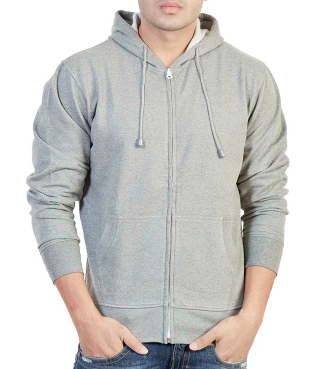 The Indian Garage Co. Anthra Melange Hooded Sweat Shirt With Zip