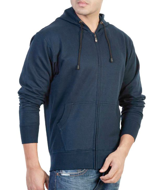 The Indian Garage Co. Navy Blue Hooded Sweat Shirt With Zip