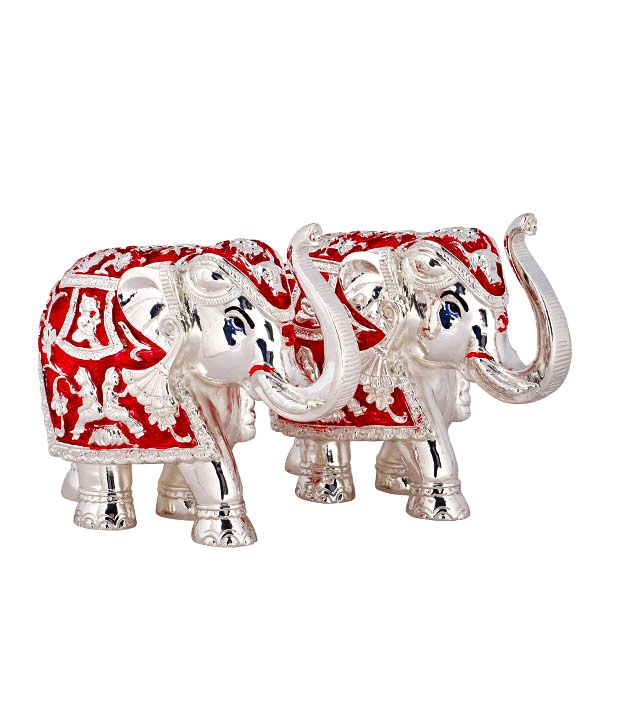Shanti Exquisite Elephant Silver Coated Idol