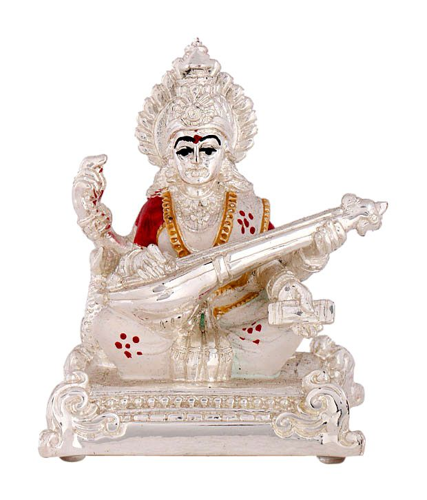 Shanti Goddess Saraswati Silver Coated Idol