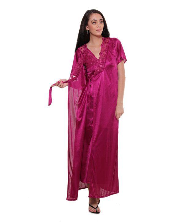 Fasense Pink Satin Nightsuit Sets Pack of 2