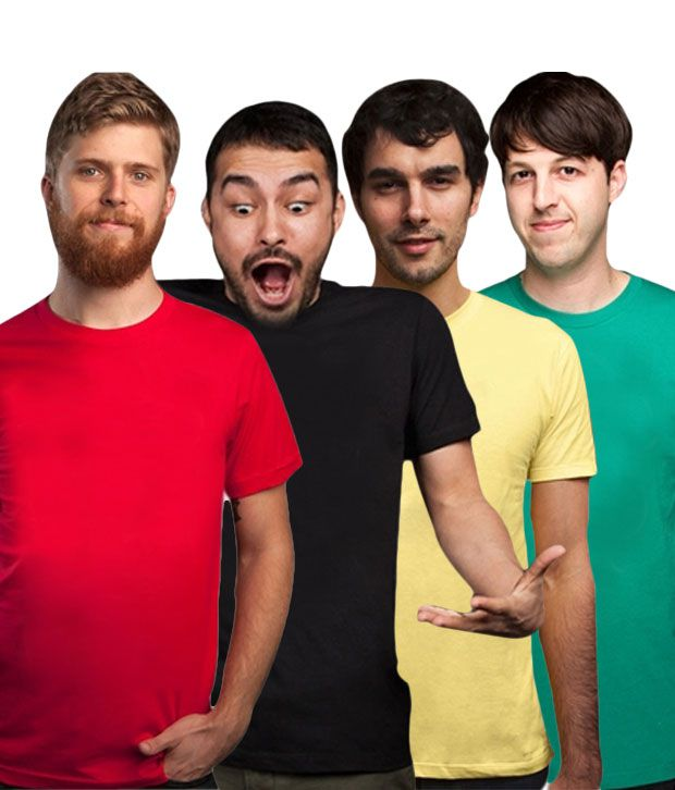 Loveusale Black-Green-Red-Yellow Pack of 4 Round Neck T shirts