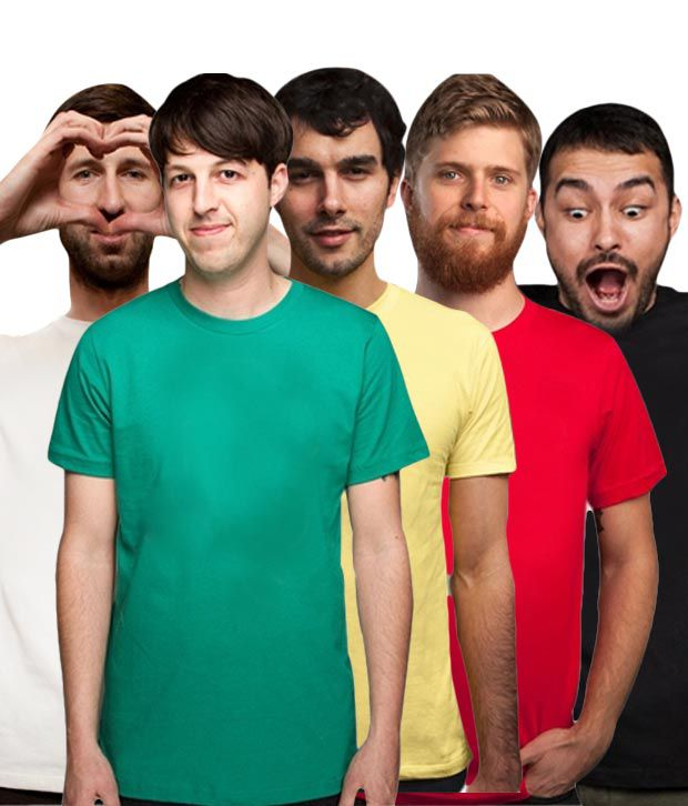 Loveusale White-Black-Green-Red-Yellow Pack of 5 Round Neck T shirts