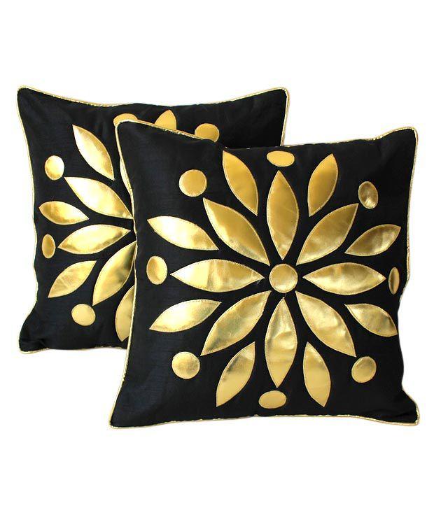 Dekor World Set of 2 Black Floral Cushion Covers