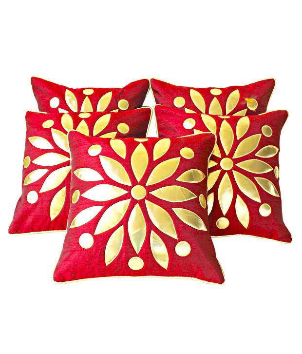 Dekor World Set of 5 Maroon Cushion Covers- Floral Design (16x16 inches)