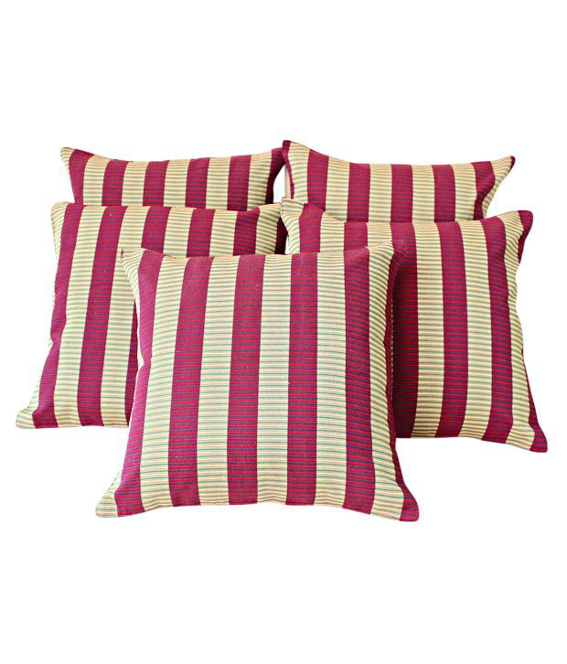 Dekor World Cushion Covers With Maroon & Beige Stripes- Set of 5 (16x16 inches)