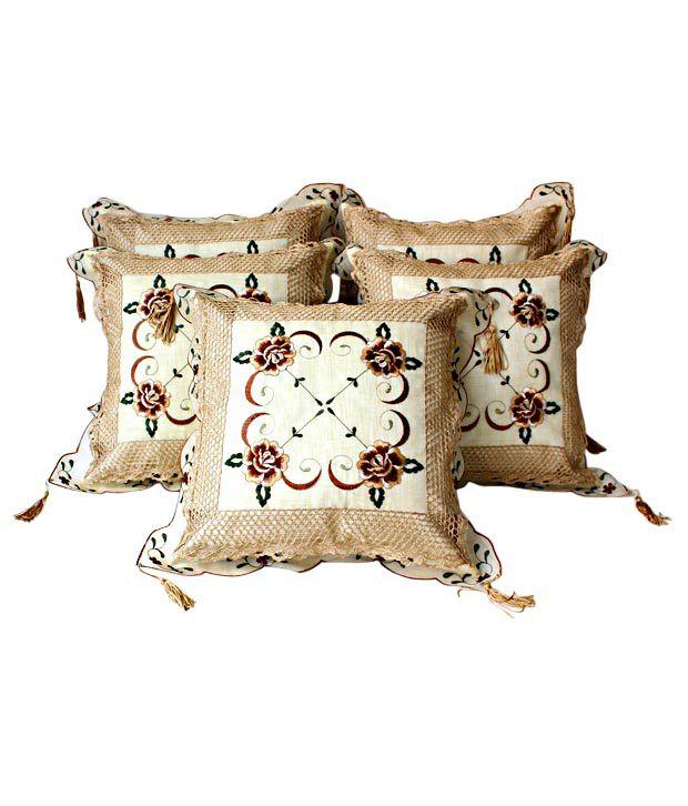 Dekor World Floral Beige Cushion Covers- 5 Pcs (16x16 inches)