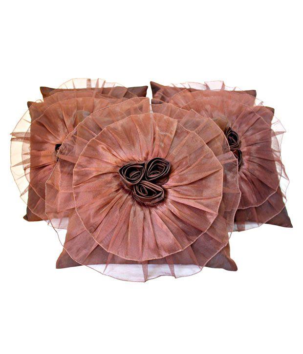 Dekor World Brown Ruffled Cushion Covers- 5 Pcs (16x16 inches)