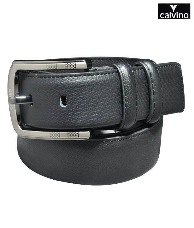 Calvino Black Snake Print Formal Belt