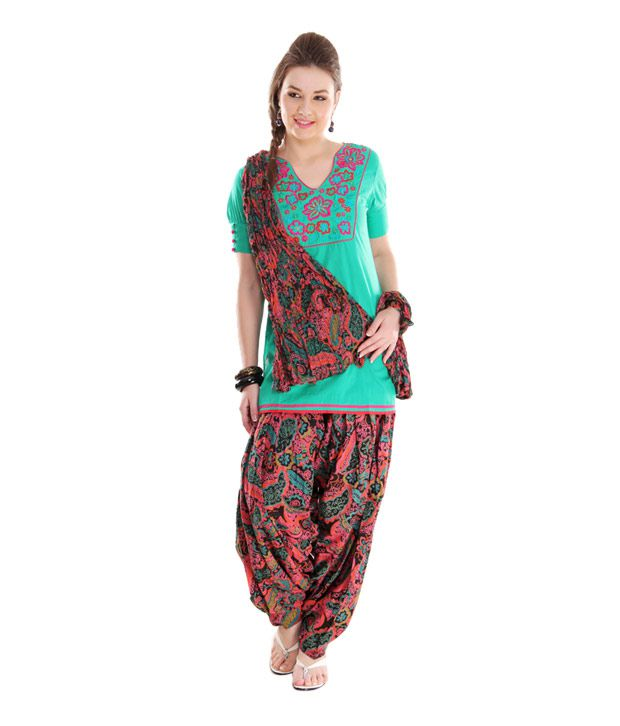 G Printed Black Patiala Salwar With Dupatta