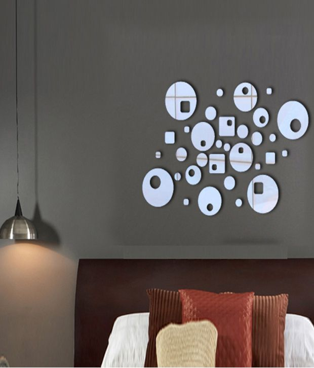 decore le mirror shapes reflective view wall decal - buy decore le